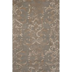 Contemporary Damask Pattern Blue/Taupe Wool And Art Silk Area Rug (8X11)