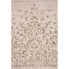 Contemporary Damask Pattern Ivory/Gray Wool Area Rug (8x11)
