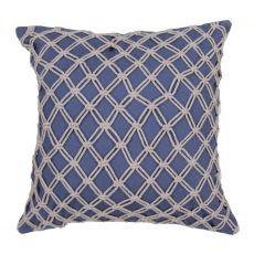 "Geometric Pattern Blue Cotton Down Fill Pillow ( 22""X22"")"