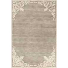 Contemporary Border Pattern Gray/Ivory Wool Area Rug (9X12)