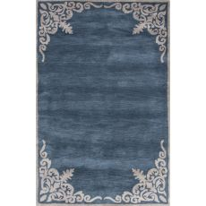 Contemporary Border Pattern Blue/Ivory Wool Area Rug (9X12)