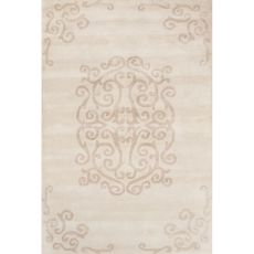 Contemporary Medallion Pattern Ivory/Beige Wool Area Rug (8X11)