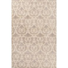 Contemporary Damask Pattern Gray/Ivory Wool Area Rug (8X11)