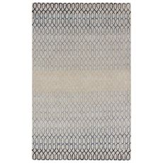 Contemporary Trellis, Chain & Tiles Pattern Blue/Green Wool And Viscose Area Rug ( 8X11)