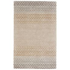 Contemporary Trellis, Chain & Tiles Pattern White/Blue Wool And Viscose Area Rug ( 8X11)