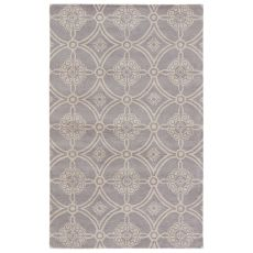 Classic Damask Pattern Gray/White Wool Area Rug ( 8X11)