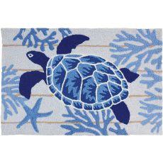 """Indigo Sea Turtle Indoor/Outdoor Rug, 20"""" X 30"""""""