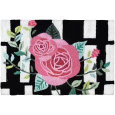 "Roses On Black Stripes Indoor/Outdoor Rug, 20"" X 30"""