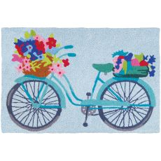 "Flower Basket On Bicycle Indoor/Outdoor Rug, 20"" X 30"""