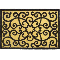 "Frontgate-Black & Tan Indoor/Outdoor Rug, 20"" X 30"""