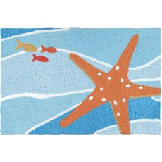 "Starfish On Blue Waves Indoor/Outdoor Rug, 20"" X 30"""