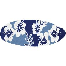 "Surfboard - Navy Hibiscus Indoor/Outdoor Rug, 21"" X 54"""