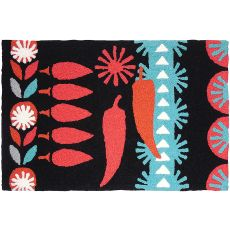 "Retro Chili Peppers Black Indoor/Outdoor Rug, 20"" X 30"""