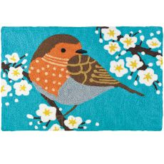 "Sparrow In Flowering Tree Indoor/Outdoor Rug, 20"" X 30"""