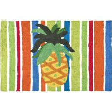 "Pineapple On Watercolored Stripes Indoor/Outdoor Rug, 20"" X 30"""