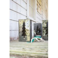 Tin Bag Christmas Tree Luminary Set of 6
