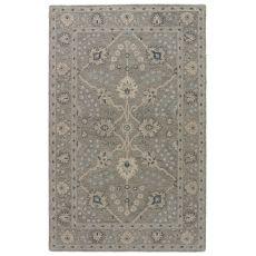 Classic Oriental Pattern Neutral/Blue Wool Area Rug ( 8X11)