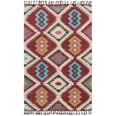 Flatweave Tribal Pattern Red/Blue Wool And Cotton Area Rug ( 8X11)