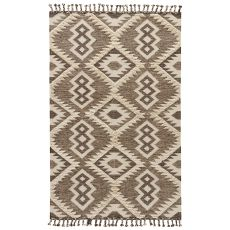 Flatweave Tribal Pattern Brown/White Wool And Cotton Area Rug ( 8X11)