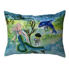 Mermaid & Jellyfish Small Noncorded Pillow 11x14