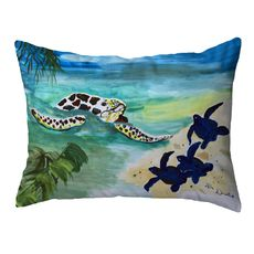 Sea Turtle & Babies Small Noncorded Pillow 11x14