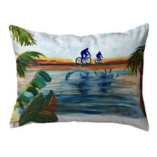 Two Bikers Small Noncorded Pillow 11x14
