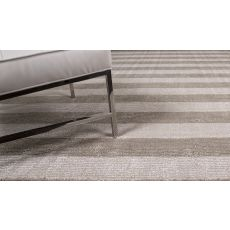 Solids Stripes Pattern Gray/Ivory Wool And Art Silk Area Rug (8X10)