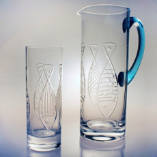 Kipper Fish Glass Pitcher With Ocean Blue Handle