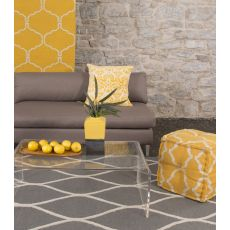 Contemporary Geometric Pattern Gray/Ivory Wool Area Rug (9X12)