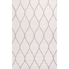 Contemporary Geometric Pattern Ivory/Gray Wool Area Rug (9X12)
