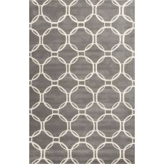 Contemporary Trellis, Chain And Tile Pattern Gray/Ivory Wool Area Rug (9X12)