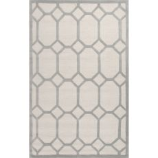 Contemporary Trellis, Chain And Tile Pattern Ivory/Gray  Wool Area Rug (8X10)