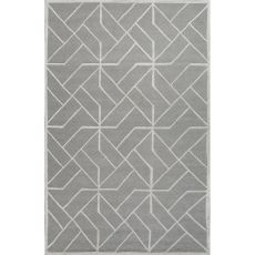 Contemporary Geometric Pattern Gray/Ivory  Wool Area Rug (8X10)