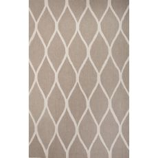 Contemporary Trellis, Chain And Tile Pattern Taupe/Ivory Wool Area Rug (8X10)
