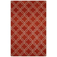 Contemporary Trellis, Chain And Tile Pattern Orange/Ivory Wool Area Rug (8X10)