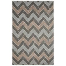 Contemporary Chevrons Pattern Blue/Gray Wool Area Rug (8X10)