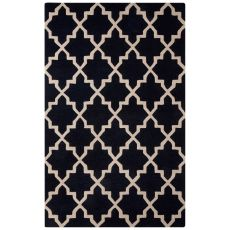 Contemporary Trellis, Chain And Tile Pattern Blue/Ivory Wool Area Rug (8X10)