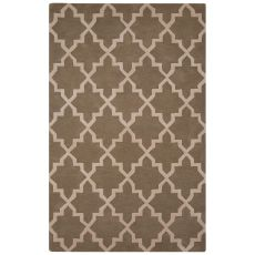 Contemporary Trellis, Chain And Tile Pattern Tan/Ivory Wool Area Rug (8X10)