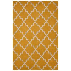 Contemporary Trellis, Chain And Tile Pattern Yellow/Ivory Wool Area Rug (8X10)