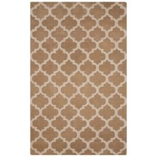 Contemporary Trellis, Chain And Tile Pattern Beige/Ivory Wool Area Rug (8x10)