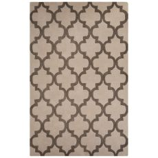 Contemporary Trellis, Chain And Tile Pattern Gray Wool Area Rug (8X10)