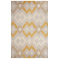 Contemporary Tribal Pattern Gray/Ivory Wool Area Rug (8X10)