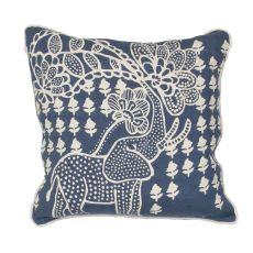 "Animal Print Pattern Blue/Ivory Linen Down Fill Pillow ( 18""X18"")"