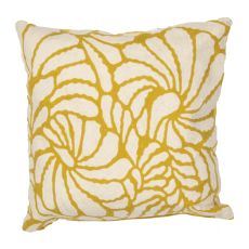 "Floral Pattern Yellow/Ivory Cotton Down Fill Pillow ( 18""X18"")"
