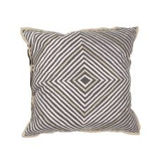"Geometric Pattern Gray/Ivory Cotton And Linen Down Fill Pillow ( 18""X18"")"