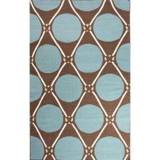 Flatweave Tribal Pattern Blue/Brown Wool Area Rug (8X11)