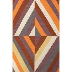 Flatweave Geometric Pattern Red/Orange Wool Area Rug (8X11)