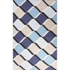 Flatweave Tribal Pattern Blue/Taupe Wool Area Rug (8X11)