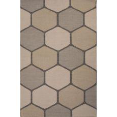 Flatweave Geometric Pattern Gray/Taupe Wool Area Rug (8X11)