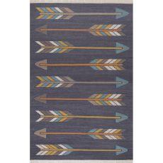 Flatweave Tribal Pattern Dark Gray/Yellow Wool And Cotton Area Rug (8X11)
